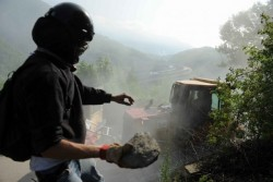 Angriff während der Auseinandersetzungen um das TAV-Projekt im Val di Susa in Italien