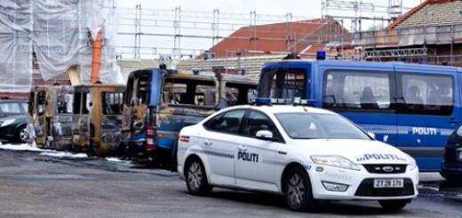 brennende Bullenwagen in Kopenhagen