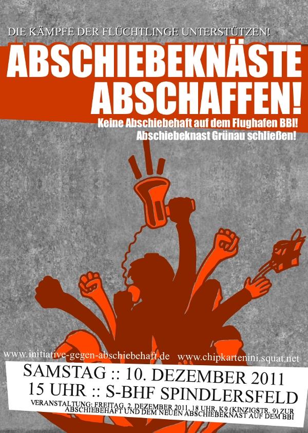 Abschiebehaft auf dem Flughafen BBI verhindern! Abschiebeknast Grünau schließen! Demonstration zum Abschiebeknast Grünau am 10. Dezember 2011