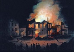 Burning parliament in Montreal in 1849