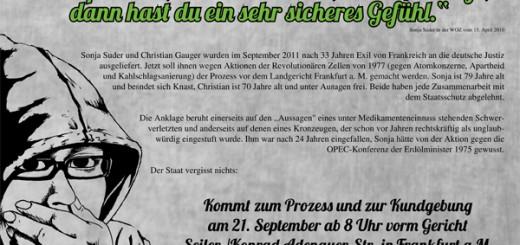 Kommt zum Prozess und zur Kundgebung am 21. September ab 8 Uhr vorm Gericht Seiler-/Konrad-Adenauer-Str. in Frankfurt a.M. Freiheit und Glück für Sonja und Christian